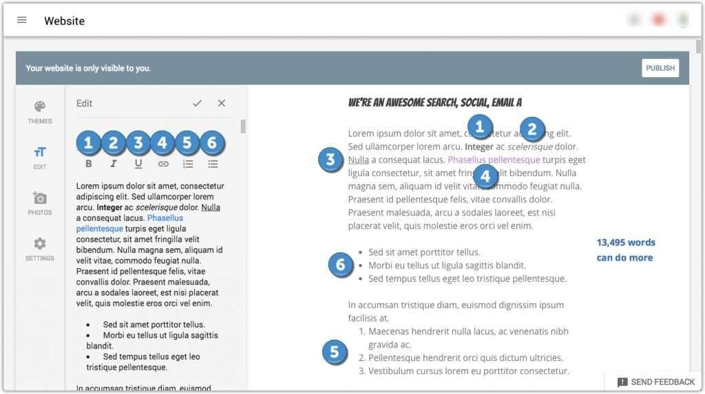 Sezione di descrizione del costruttore di siti Web GMB con esempi di formattazione